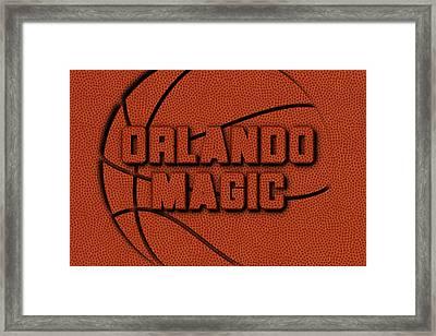 Orlando Magic Leather Art Framed Print by Joe Hamilton