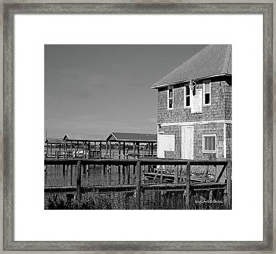 Ormond Yacht Club Black And White Framed Print by DigiArt Diaries by Vicky B Fuller