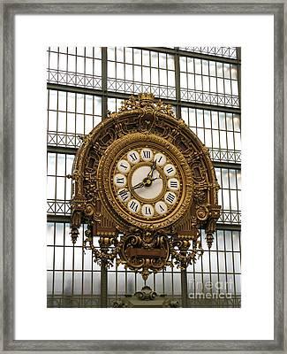 Ornate Orsay Clock Framed Print by Ann Horn