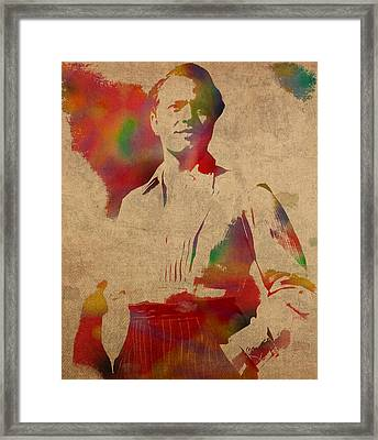 Orson Welles Citizen Kane Movie Star Actor Watercolor Portrait On Worn Distressed Canvas Framed Print by Design Turnpike