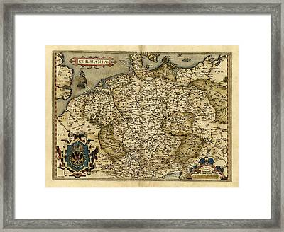 Ortelius's Map Of Germany, 1570 Framed Print by Library Of Congress, Geography And Map Division