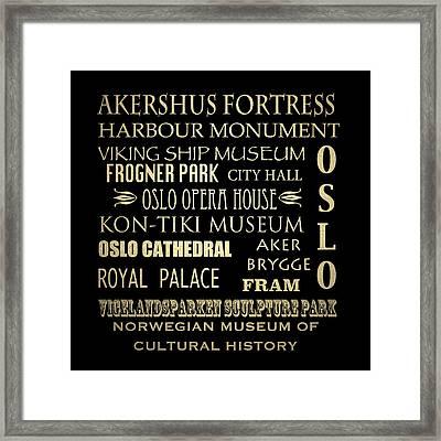 Oslo Famous Landmarks Framed Print by Patricia Lintner