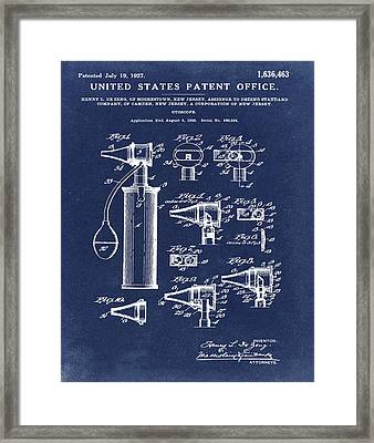 Otoscope Patent 1927 Blue  Framed Print by Bill Cannon
