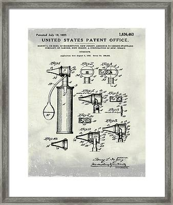 Otoscope Patent 1927 Weathered Framed Print by Bill Cannon