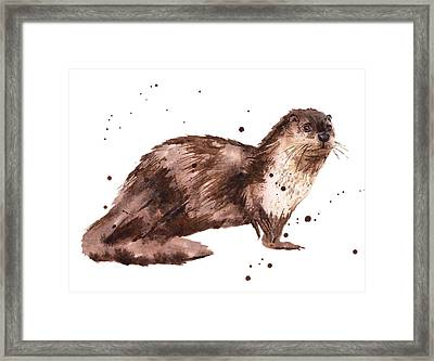 Otter Painting Framed Print by Alison Fennell