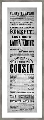Our American Cousin Framed Print by Bill Cannon