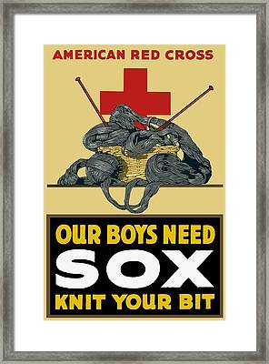 Our Boys Need Sox - Knit Your Bit Framed Print by War Is Hell Store