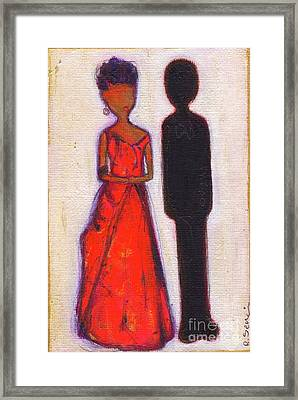 Our First Lady In Red Her Husband Is Black Framed Print by Ricky Sencion