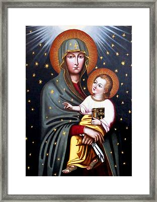 Our Lady Of Fatima Holy Mother With Child Framed Print by Magdalena Walulik