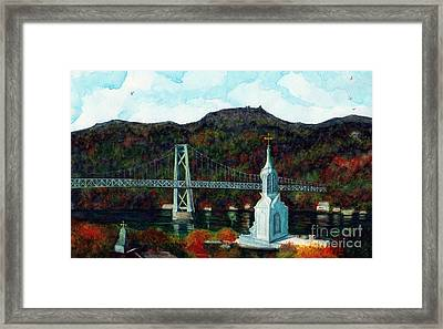 Our Lady Of Mt Carmel Church Steeple - Poughkeepsie Ny Framed Print by Janine Riley