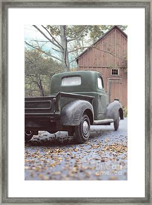 Out By The Barn Old Plymouth Truck Framed Print by Edward Fielding