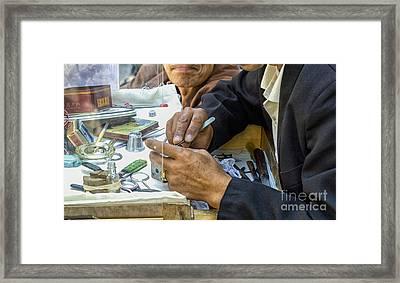 Outdoor Repair Of Clockwork Framed Print by Patricia Hofmeester