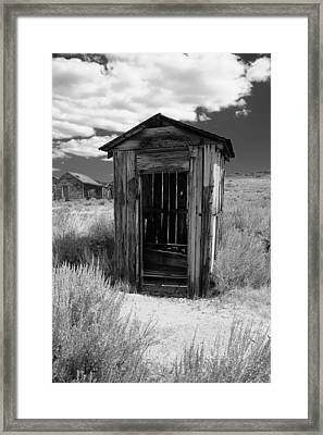 Outhouse In Ghost Town Framed Print by George Oze