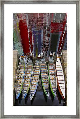 Outrigger Canoe Boats And Water Reflection Framed Print by Ben and Raisa Gertsberg