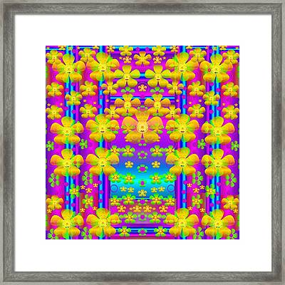 Outside The Curtain It Is Peace Florals And Love Framed Print by Pepita Selles