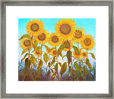 Ovation Sunflowers Framed Print by Wiley Purkey