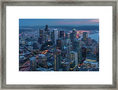 Over Seattle A Beautiful Downtown Framed Print by Mike Reid