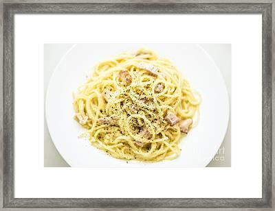 Overhead View Of Spaghetti Carbonara Italian Pasta Dish  Framed Print by Jacek Malipan