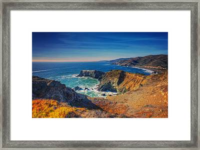 Overlooking Bird Island - Marin Headlands California Framed Print by Jennifer Rondinelli Reilly