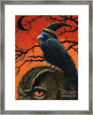 Owl And Crow Halloween Framed Print by Linda Apple
