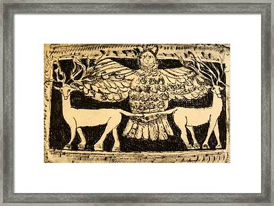 Owl And Gazelles Framed Print by Patricia Bigelow