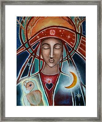 Owl And Goddess Framed Print by Lakshmi Light