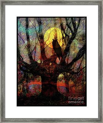 Owl And Willow Tree Framed Print by Mimulux patricia no