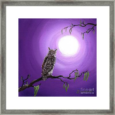 Owl On Mossy Branch Framed Print by Laura Iverson