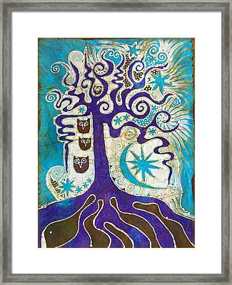 Owls In A Summer Tree Framed Print by Victoria Dresdner