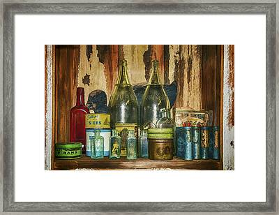 Oysters And Old Bottles Framed Print by Janet Ballard