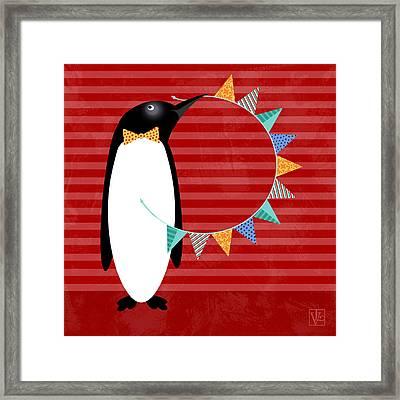 P Is For Penguin Framed Print by Valerie Drake Lesiak