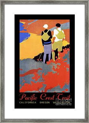 Pacific Crest Trail Art Deco Hiking Framed Print by Tina Lavoie