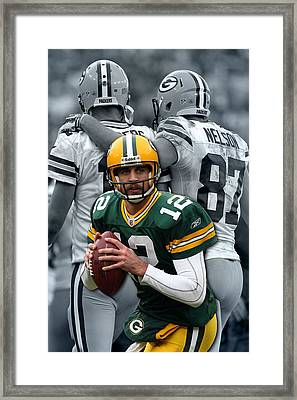 Packers Aaron Rodgers Framed Print by Joe Hamilton