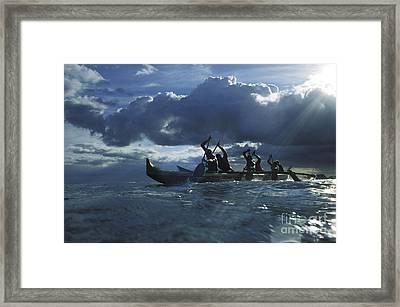 Paddlers At Sunset Framed Print by Bob Abraham - Printscapes