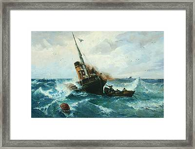 Paddlesteamer In Stormy Weather Framed Print by Andreas Achenbach