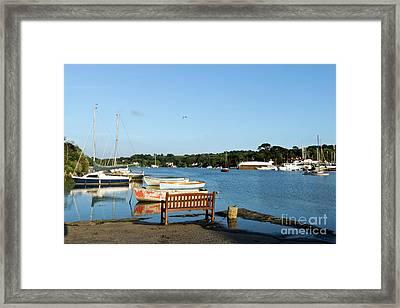 Paddling Bench At Mylor Bridge Framed Print by Terri Waters
