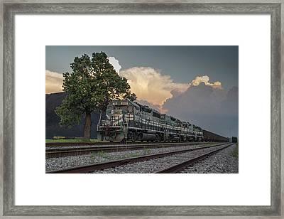 Paducah And Louisville Railway Dpu Coal Train At Calvert City, Ky Framed Print by Jim Pearson