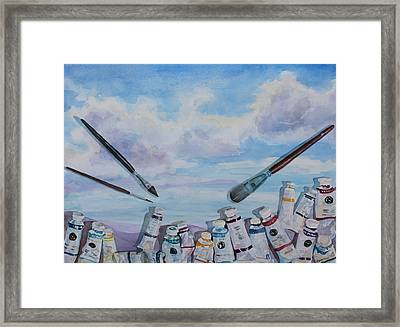 Paint Tube Hills Framed Print by Jenny Armitage