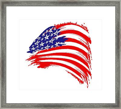 Painted American Flag Framed Print by Stefano Senise