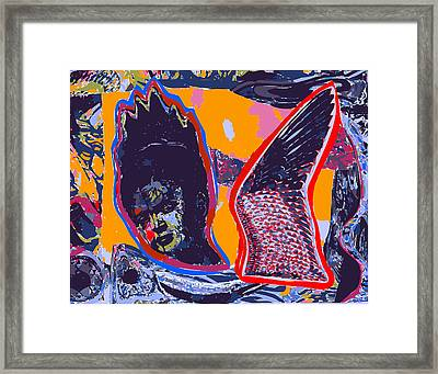 Painted Cut Paper Collage Flaming Frida Kahlo With Red Black Bird Wing Framed Print by F Burton