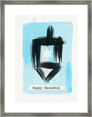 Painted Dreidel Happy Hanukkah- Design By Linda Woods Framed Print by Linda Woods