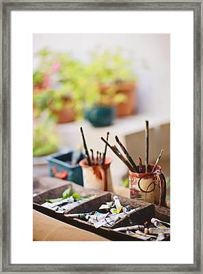 Painting Brushes Framed Print by Ilker Goksen