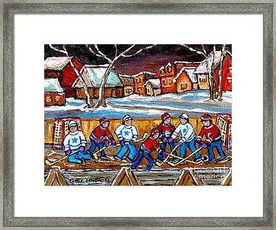Painting Hockey Art Hockey Sticks Hockey Goalies Best Original Hockey Art  Framed Print by Carole Spandau