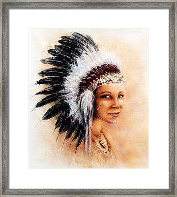 Painting Of A Young Indian Woman Weaillustration Painting Young Indian Woman Wearing A Gorgeous Feat Framed Print by Jozef Klopacka