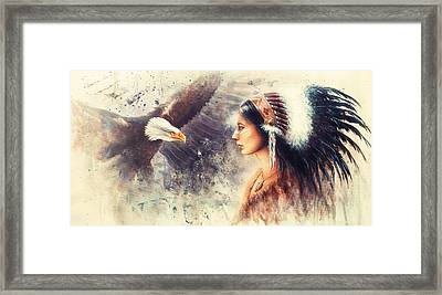 Painting Of A Young Indian Woman Wearing A Gorgeous Feather Headdress. With An Image  Eagle Spirits  Framed Print by Jozef Klopacka