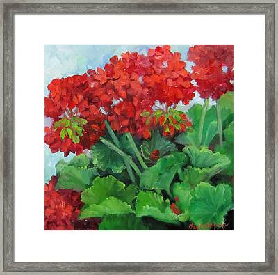 Painting Of Red Geraniums Framed Print by Cheri Wollenberg