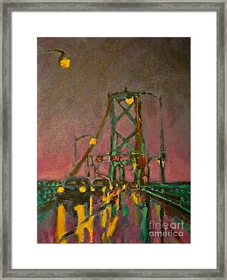 Painting Of Traffic On Wet Bridge Deck At Night Framed Print by John Malone