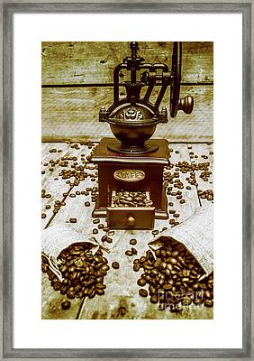 Pair Coffee Bean Bags Spilled In Front Of Grinder Framed Print by Jorgo Photography - Wall Art Gallery