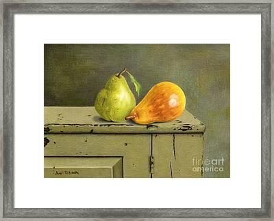 Pair Of Pears Framed Print by Sarah Batalka