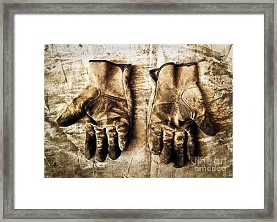 Pair Of Work Gloves In Monotone Framed Print by Emilio Lovisa